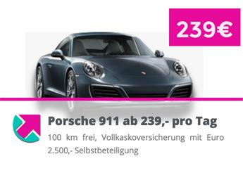 Porsche 911 ab 239,- pro Tag